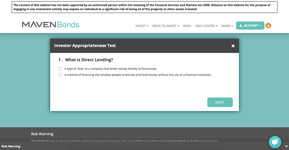 Maven Bonds Appropriateness Test