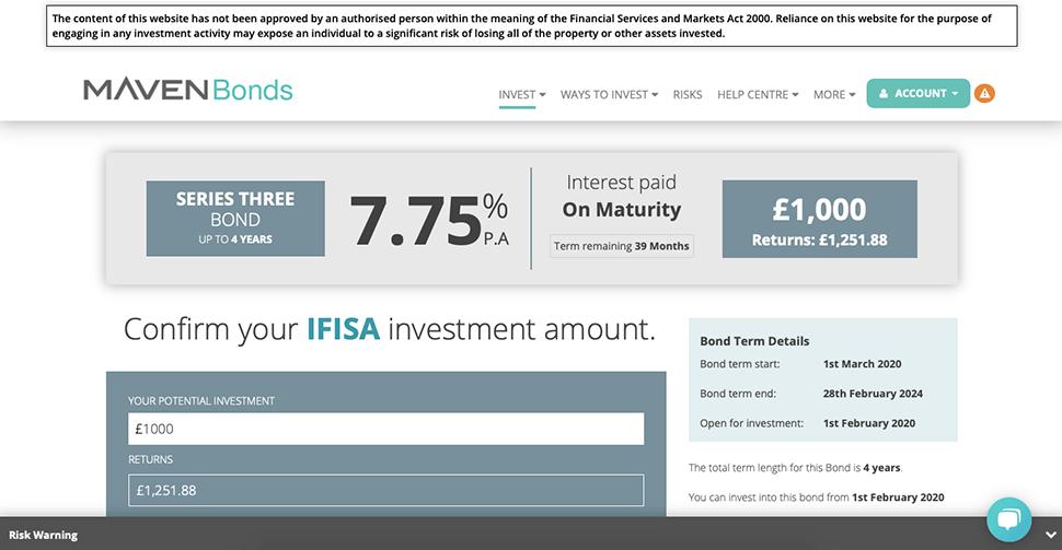 Maven Bonds Investment dashboard