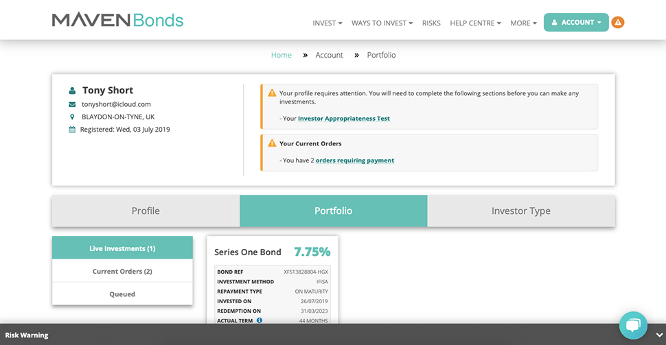 Maven Bonds dashboard