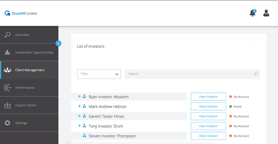 GrowthFunders Client Management Dashboard