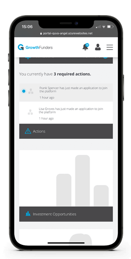 iPhone showing the Quva and GrowthFunders Platform