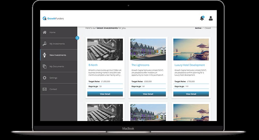 GrowthFunders Dashboard on MacBook